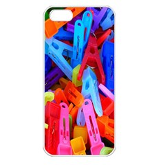 Clothespins Colorful Laundry Jam Pattern Apple iPhone 5 Seamless Case (White)