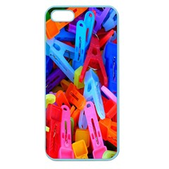 Clothespins Colorful Laundry Jam Pattern Apple Seamless iPhone 5 Case (Color)