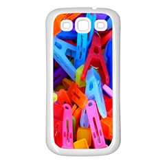 Clothespins Colorful Laundry Jam Pattern Samsung Galaxy S3 Back Case (White)