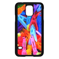 Clothespins Colorful Laundry Jam Pattern Samsung Galaxy S5 Case (Black)