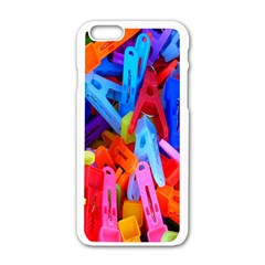 Clothespins Colorful Laundry Jam Pattern Apple iPhone 6/6S White Enamel Case