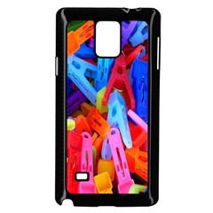 Clothespins Colorful Laundry Jam Pattern Samsung Galaxy Note 4 Case (Black)