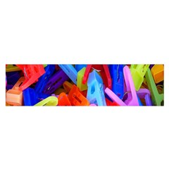 Clothespins Colorful Laundry Jam Pattern Satin Scarf (Oblong)