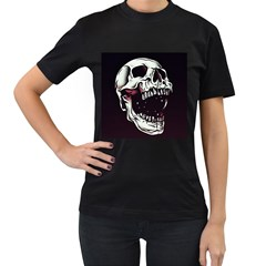 Death Skull Women s T-Shirt (Black) (Two Sided)