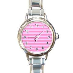 Fabric Baby Pink Shades Pale Round Italian Charm Watch