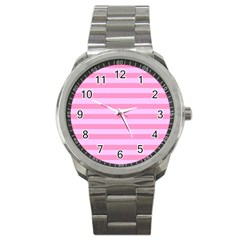 Fabric Baby Pink Shades Pale Sport Metal Watch