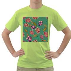 Flowers Pattern Green T-Shirt