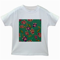 Flowers Pattern Kids White T-Shirts