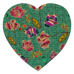 Flowers Pattern Jigsaw Puzzle (Heart)