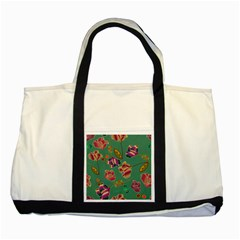 Flowers Pattern Two Tone Tote Bag