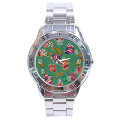 Flowers Pattern Stainless Steel Analogue Watch