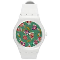 Flowers Pattern Round Plastic Sport Watch (M)