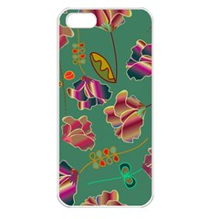 Flowers Pattern Apple iPhone 5 Seamless Case (White)