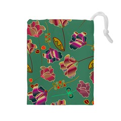 Flowers Pattern Drawstring Pouches (Large)
