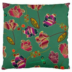 Flowers Pattern Large Flano Cushion Case (Two Sides)