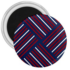 Geometric Background Stripes Red White 3  Magnets