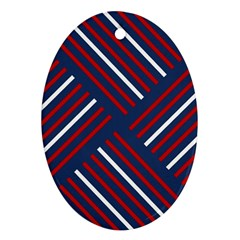 Geometric Background Stripes Red White Ornament (Oval)