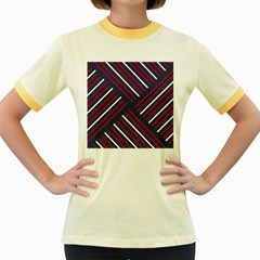 Geometric Background Stripes Red White Women s Fitted Ringer T-Shirts