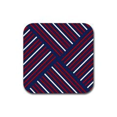 Geometric Background Stripes Red White Rubber Square Coaster (4 pack)