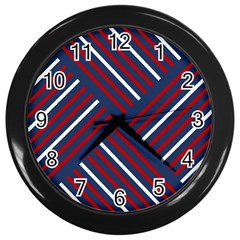 Geometric Background Stripes Red White Wall Clocks (Black)