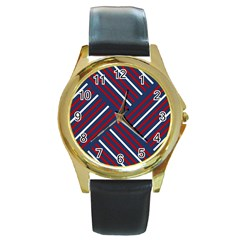 Geometric Background Stripes Red White Round Gold Metal Watch