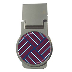 Geometric Background Stripes Red White Money Clips (Round)