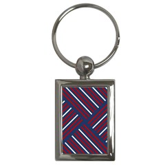 Geometric Background Stripes Red White Key Chains (Rectangle)
