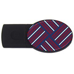 Geometric Background Stripes Red White USB Flash Drive Oval (1 GB)