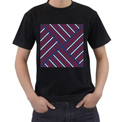 Geometric Background Stripes Red White Men s T-Shirt (Black) (Two Sided)