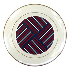 Geometric Background Stripes Red White Porcelain Plates