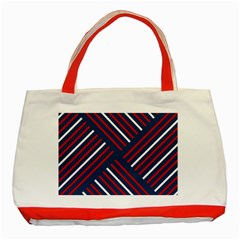 Geometric Background Stripes Red White Classic Tote Bag (Red)