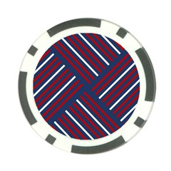 Geometric Background Stripes Red White Poker Chip Card Guard