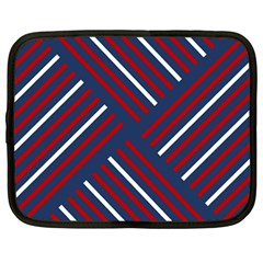 Geometric Background Stripes Red White Netbook Case (Large)