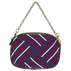 Geometric Background Stripes Red White Chain Purses (Two Sides)