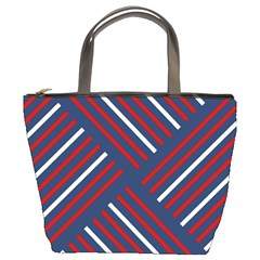 Geometric Background Stripes Red White Bucket Bags