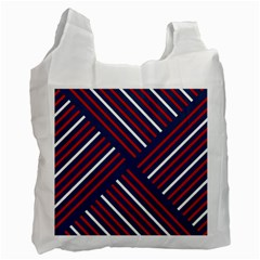 Geometric Background Stripes Red White Recycle Bag (Two Side)