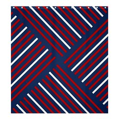 Geometric Background Stripes Red White Shower Curtain 66  x 72  (Large)