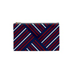 Geometric Background Stripes Red White Cosmetic Bag (Small)