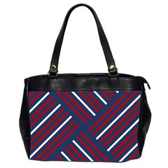 Geometric Background Stripes Red White Office Handbags (2 Sides)