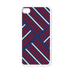 Geometric Background Stripes Red White Apple iPhone 4 Case (White)