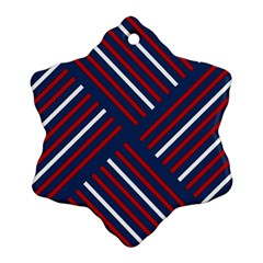 Geometric Background Stripes Red White Snowflake Ornament (Two Sides)