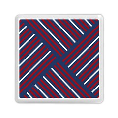 Geometric Background Stripes Red White Memory Card Reader (Square)