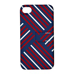 Geometric Background Stripes Red White Apple iPhone 4/4S Hardshell Case with Stand