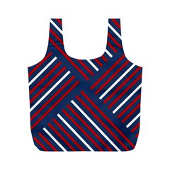 Geometric Background Stripes Red White Full Print Recycle Bags (M)