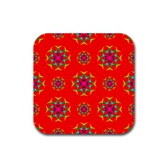 Geometric Circles Seamless Pattern Rubber Coaster (Square)