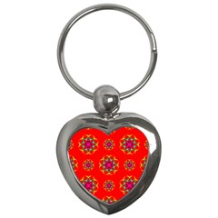 Geometric Circles Seamless Pattern Key Chains (Heart)