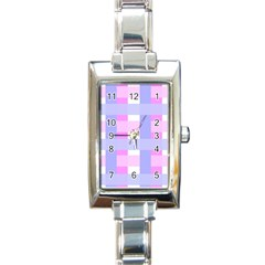 Gingham Checkered Texture Pattern Rectangle Italian Charm Watch