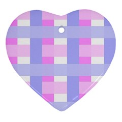 Gingham Checkered Texture Pattern Ornament (Heart)