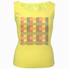 Gingham Checkered Texture Pattern Women s Yellow Tank Top