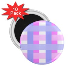 Gingham Checkered Texture Pattern 2.25  Magnets (10 pack)